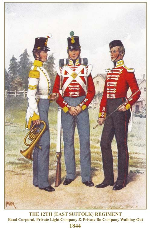 British; 12th(East Suffolk) Regiment, Band Corporal, Light Company, Private & Battalion Company, Private, Walkin Out Dress, 1844 by P W Reynolds