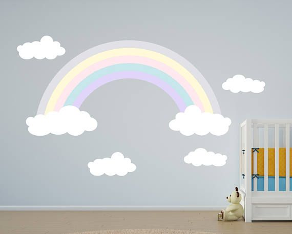 Rainbow Wall Decals - Girls Rainbow Decals - Kids Room Decal - Purple Rainbow Reusable Wall Decal - Rainbow wall decal - Girls Wall Decals & 32 best Reusable Wall Decals - Move them around and play with them ...