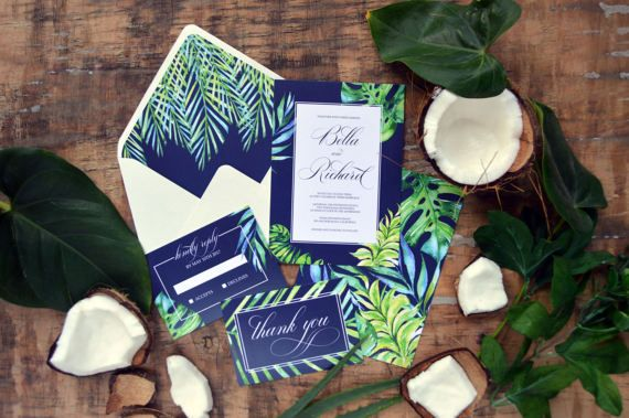 Tropical Elegant Wedding Invitation Suite, Calligraphy Tropical Wedding Invite, Navy Blue Boho Wedding Paper Suite, Pantone 2017  This listing is for physical item.  Make custom invitations for any special occasion  Free Shipping Priority Mail on all orders.   PRINTING AND PAPER QUALITY   Our invitations are printed on premium quality cardstock using commercial press. We are using only the absolute best in printing and paper, giving your stationery the highest level of quality.   SA...
