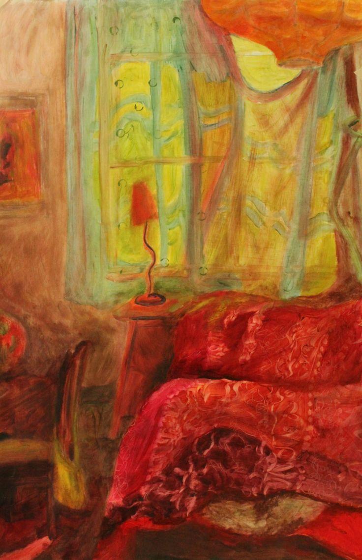 punavihreä huone, öljy paperille