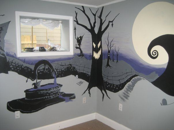 Erin's cousin Michael was a big fan of The Nightmare Before Christmas.  So when they moved into their new home we painted a mural of Hallowe...