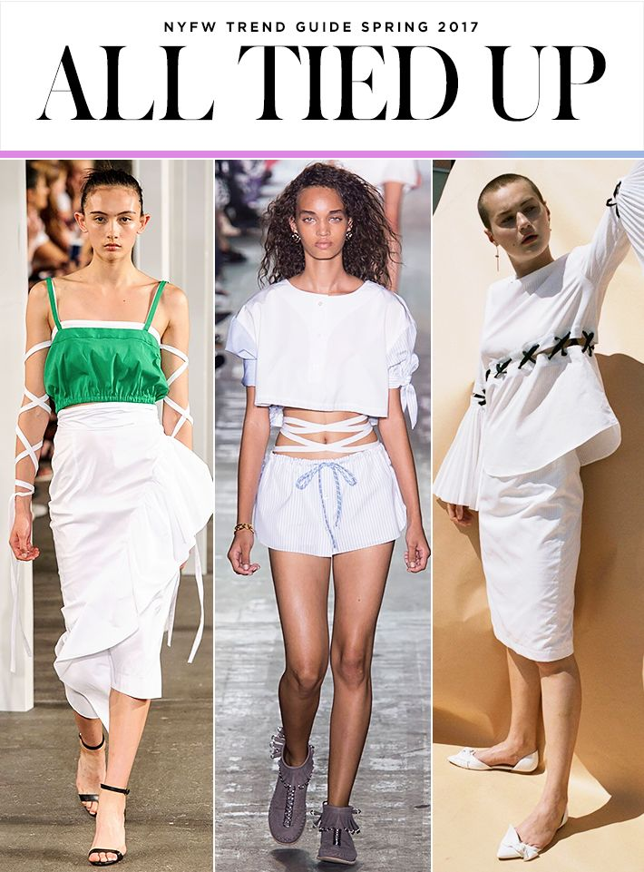 Top 10 Trends from NYFW Spring 2017 | Lace-up and tied up styles | Milly by Michelle Smith; Alexander Wang; Kaelen | Fashion Week SS17