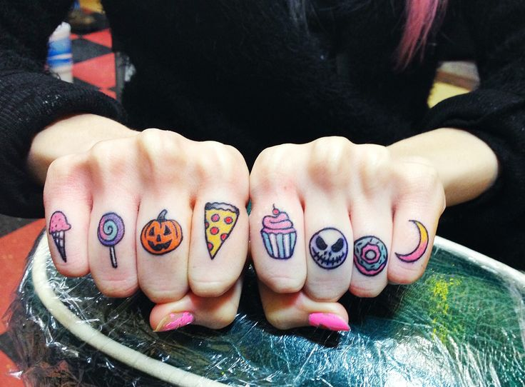 ice cream, lollipop, pumpkin, pizza, cupcake, jack skellington, donut, and moon tattoos