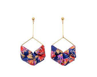 HEXA EARRINGS   Origami Earrings; Origami Jewelry, Origami Jewellery; Origami; Paper Jewelry; Japanese Paper; Japan; Statement Earrings; Gift for Her; Paper