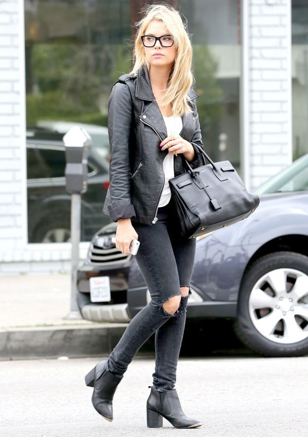 Get Ashley Benson's look. Leather jacket | ripped black jeans | black on black street style.