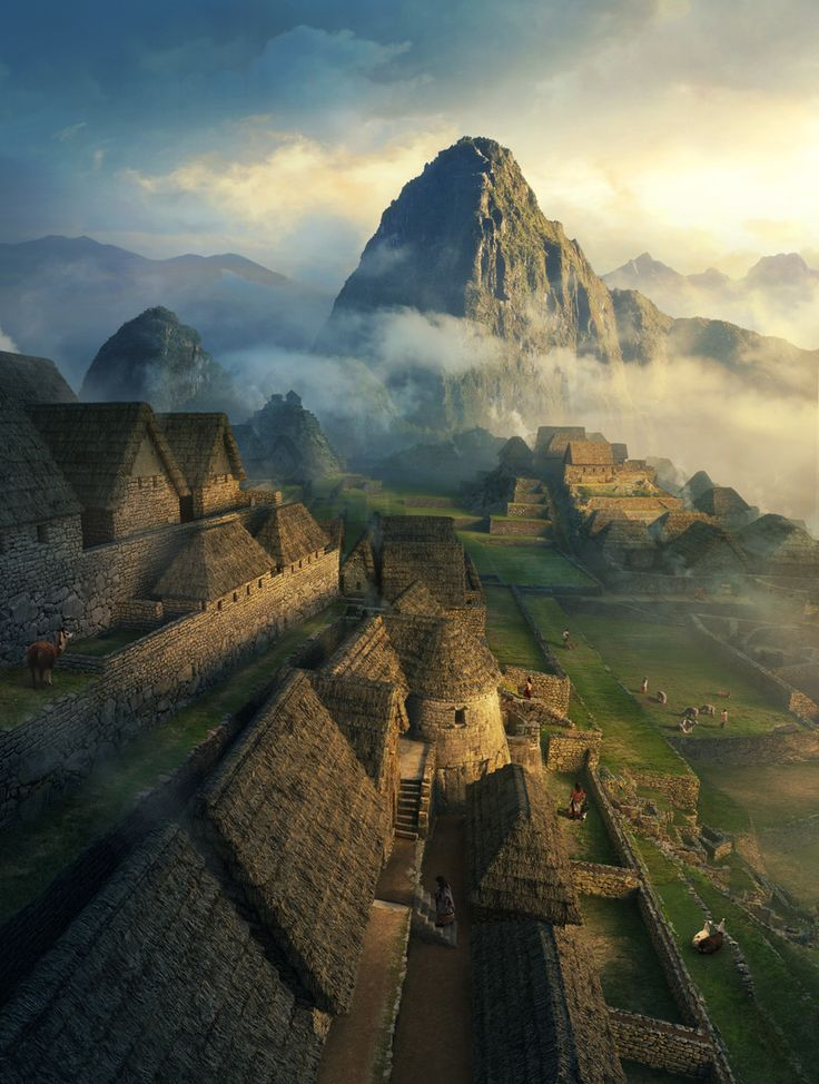 Amazing Machu Picchu reconstruction. Matte painting by Dylan Cole