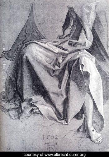 Study Of Drapery 1508 Drawing - Albrecht Durer - www.albrecht-durer.org