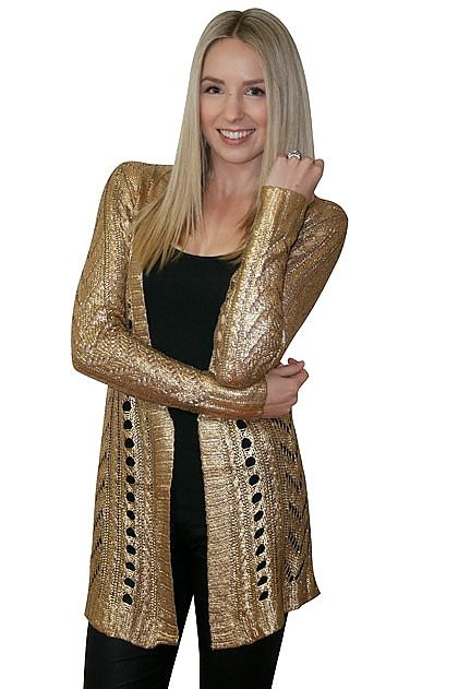 Elliatt Dripping Gold Cardigan » online clothing shop with top fashion brand dresses, tops, skirts, jackets for women.