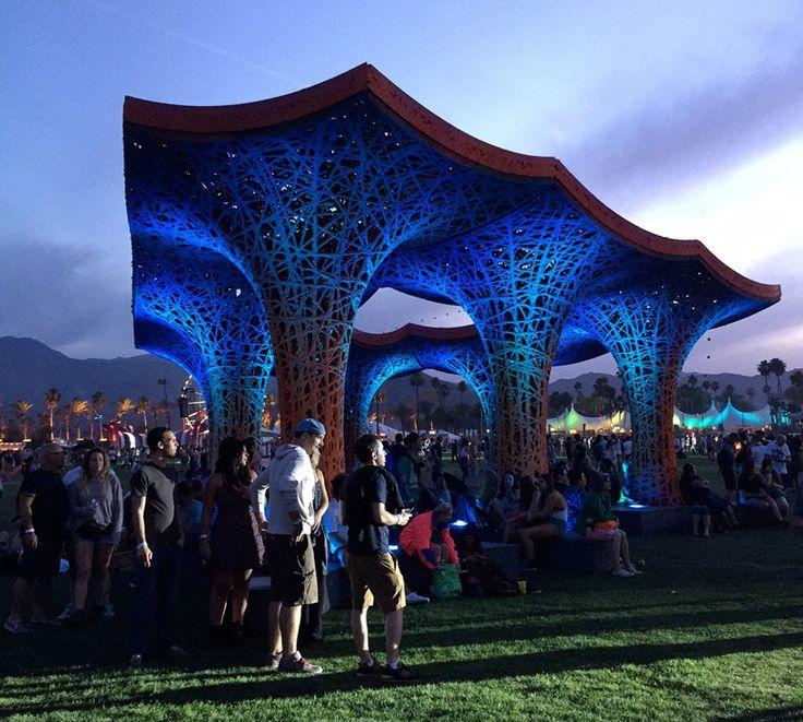 ball-nogues' pulp pavilion shades visitors at coachella music festival