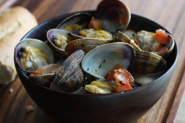 Beer Steamed Clams with Bacon & Tomatoes ~ http://steamykitchen.com