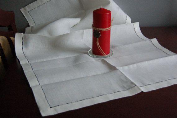 Natural linen handmade white  hemstiched by LovelyCraftsHome