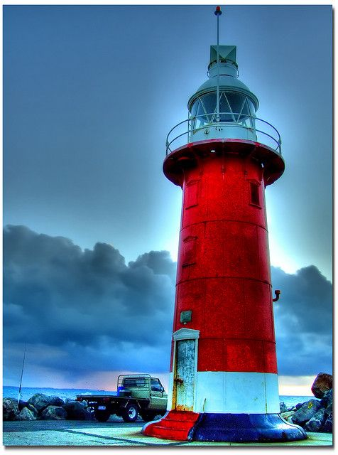 Lighthouse in approaching Storm, Perth, Western Australia.