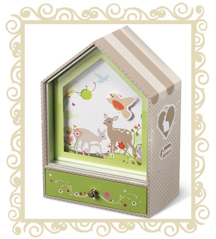$47.95 - Janod Music Box - A delightful musical jewelery box from the French toy manufacturer Janod. Pull out the draw and watch the bird move around the delightful forest scene in time with the music. Ages 3+