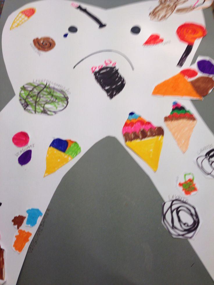 De usunde ting for tænderne. Tegnet af 5 årige. Struktureret temaarbejde om sundhed og hygiejne.