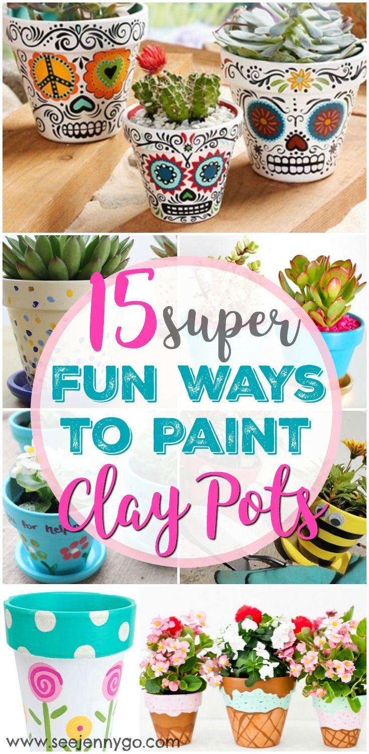 How fun is this Spring Craft? Get your garden looking good with fun ways to paint clay pots! #DIY #claypots #crafts #DIY