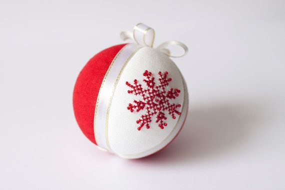 Christmas tree decoration red linen covered with cross stitch glitter snowflake