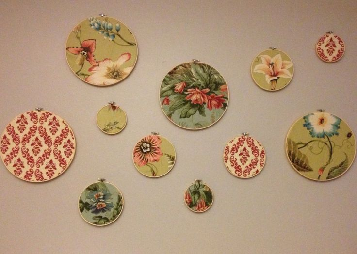 $15 wall art - fabric and embroidery hoops!