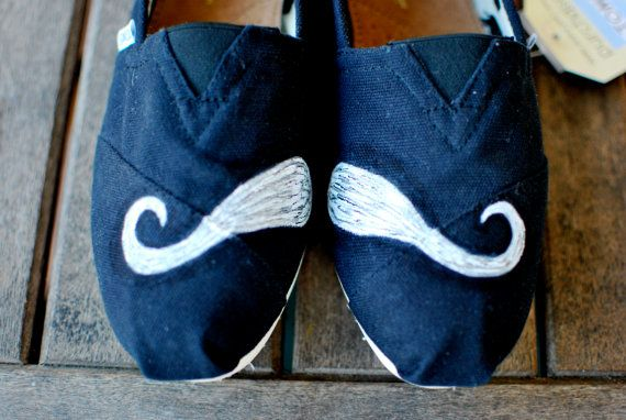Mustache TOMS Shoes by BStreetShoes on Etsy, $79.00