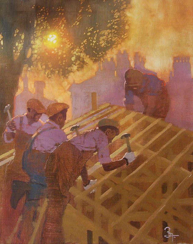 """Carpenters in Charleston, South Carolina"" by Bernie Fuchs, 1995 (632x800) ..."