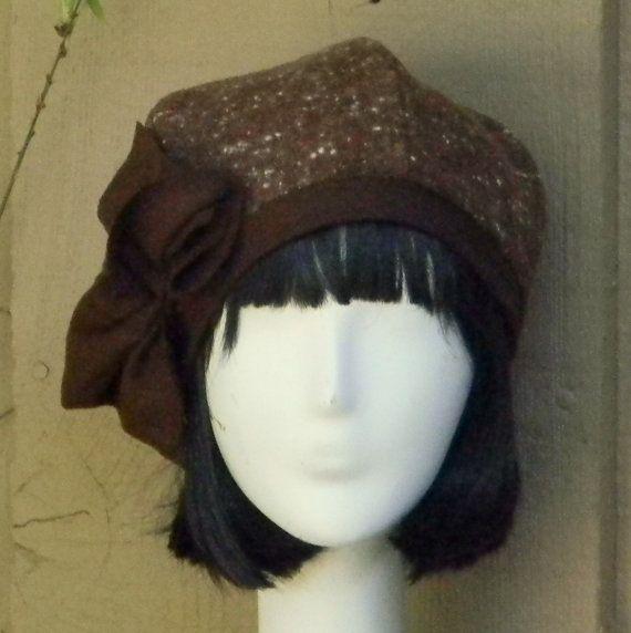 Beret Hat Bow Vintage Brown Herringbone Wool by Bellastarrhats