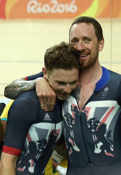 Bradley Wiggins and Owain Doull of Team Great Britain celebrates winning the…