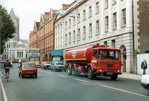 A Texaco truck in Lord Edward Street, Dublin 1985. Scan from a print   Sweet Picture!  Have a look at at all these great signs I found for your home all oil and gas industry, all starting at a penny
