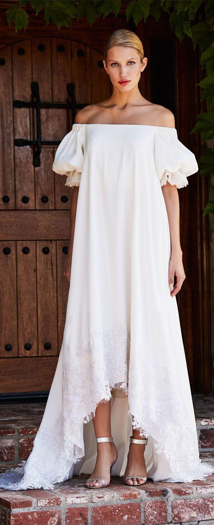 Puff short sleeves off the shoulder sheath wedding dress tadashi