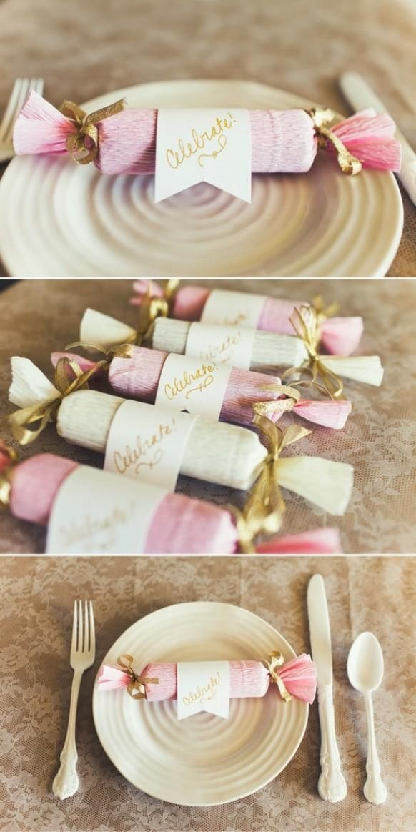 Weddbook ♥  DIY cute place settings. DIY Candy Poppers. Wedding favor ideas. pink diy favor