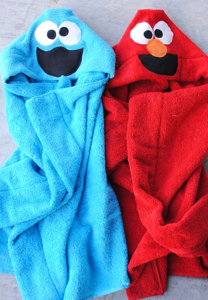 Cookie monster & Elmo hooded towels, found on : http://crazylittleprojects.com/2013/05/cookie-monster-elmo-hooded-towel.html