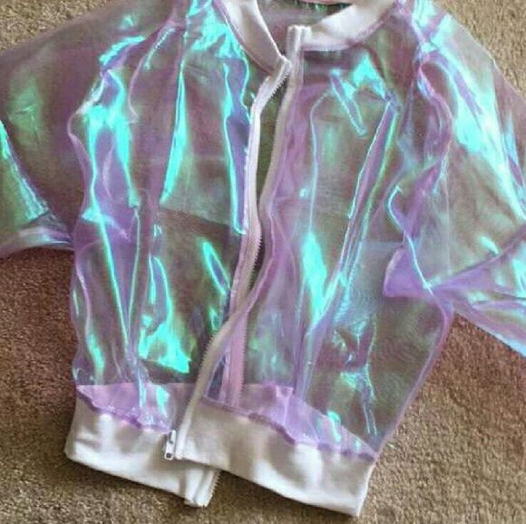 Sheer fluorescent BOMBER! Rave Rave Rave!!   This perfect jacket is right on time for spring , festivals, EDC  SXSW, BONNEROO, ELECTRIC FOREST! HANDMADE, by me. Pairs well with my weed queen gold necklace and YRU platforms also listed!  Fits 34b, 28, 40 Not nasty gal!!  Cheaper on merc upon request! Nasty Gal Jackets & Coats