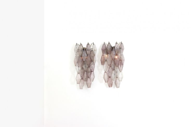 Pair of wall lights Manufactured by Venini Metal structure, transparent and amethyst glass polyhedrons (blown in mold) Italy, designed in 1958 |manufactured in late 1960's at DIMOREGALLERY