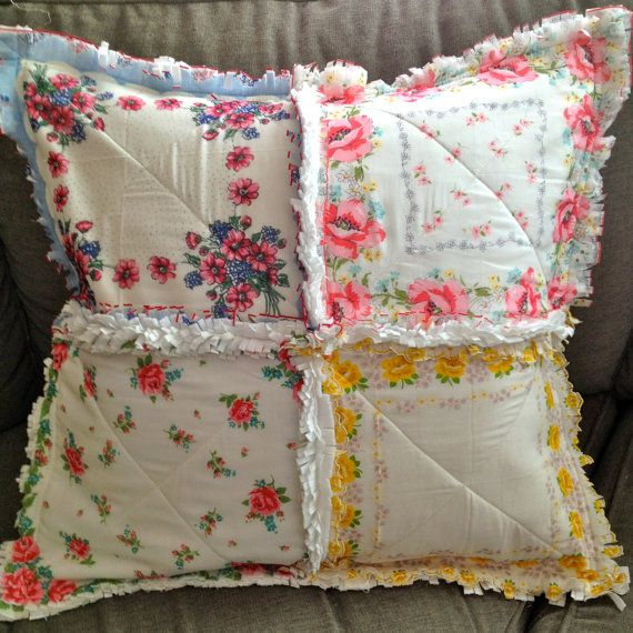 Vintage Hanky Handkerchief Rag Quilted Pillow Cover by ZeedleBeez