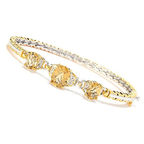"163-213 - Gems en Vogue Final Cut 7.25"" or 8"" 6.61ctw Oval Zambian Citrine 3-Stone Hinged Bangle Bracelet"