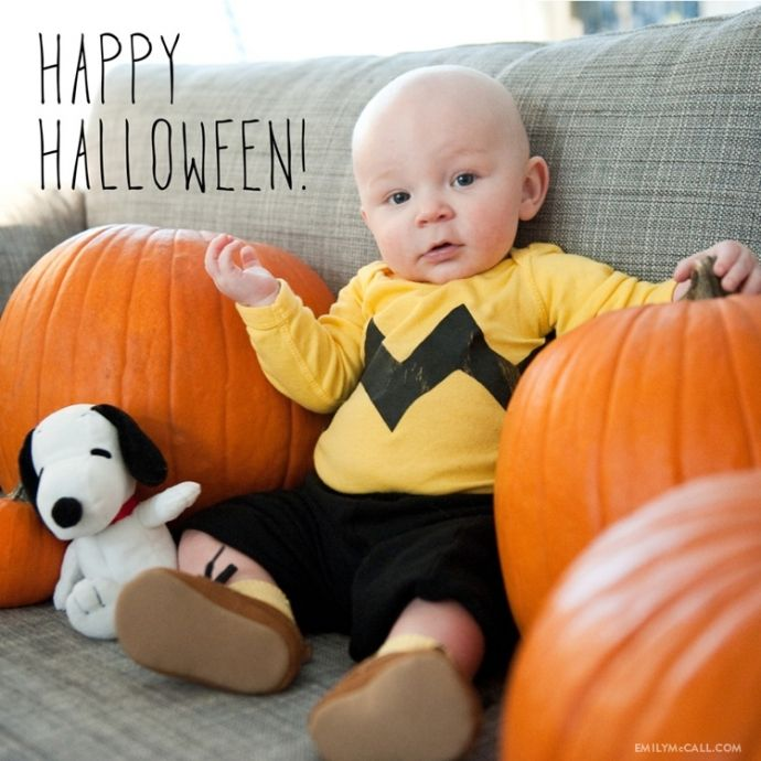 Baby Charlie Brown costume -- if only I'd done this when my kids were bald little babies! :)