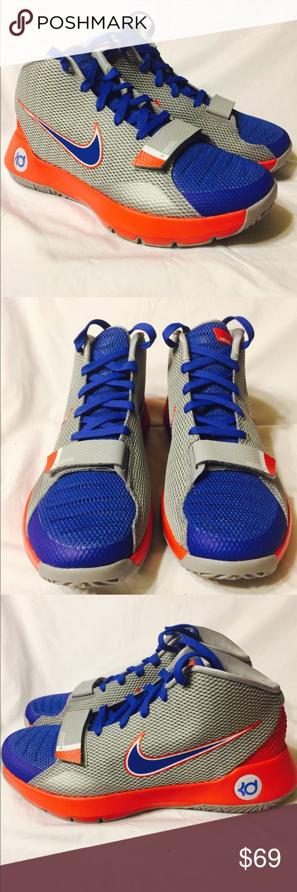 Nike KD Trey 5 III basketball shoes gray red blue New without box- Nike KD Trey 5 III gray, red, blue high top basketball shoes.  Lace and hook and loop fastener.  Sizes 8.5, 9, and 9.5. Nike Shoes Athletic Shoes