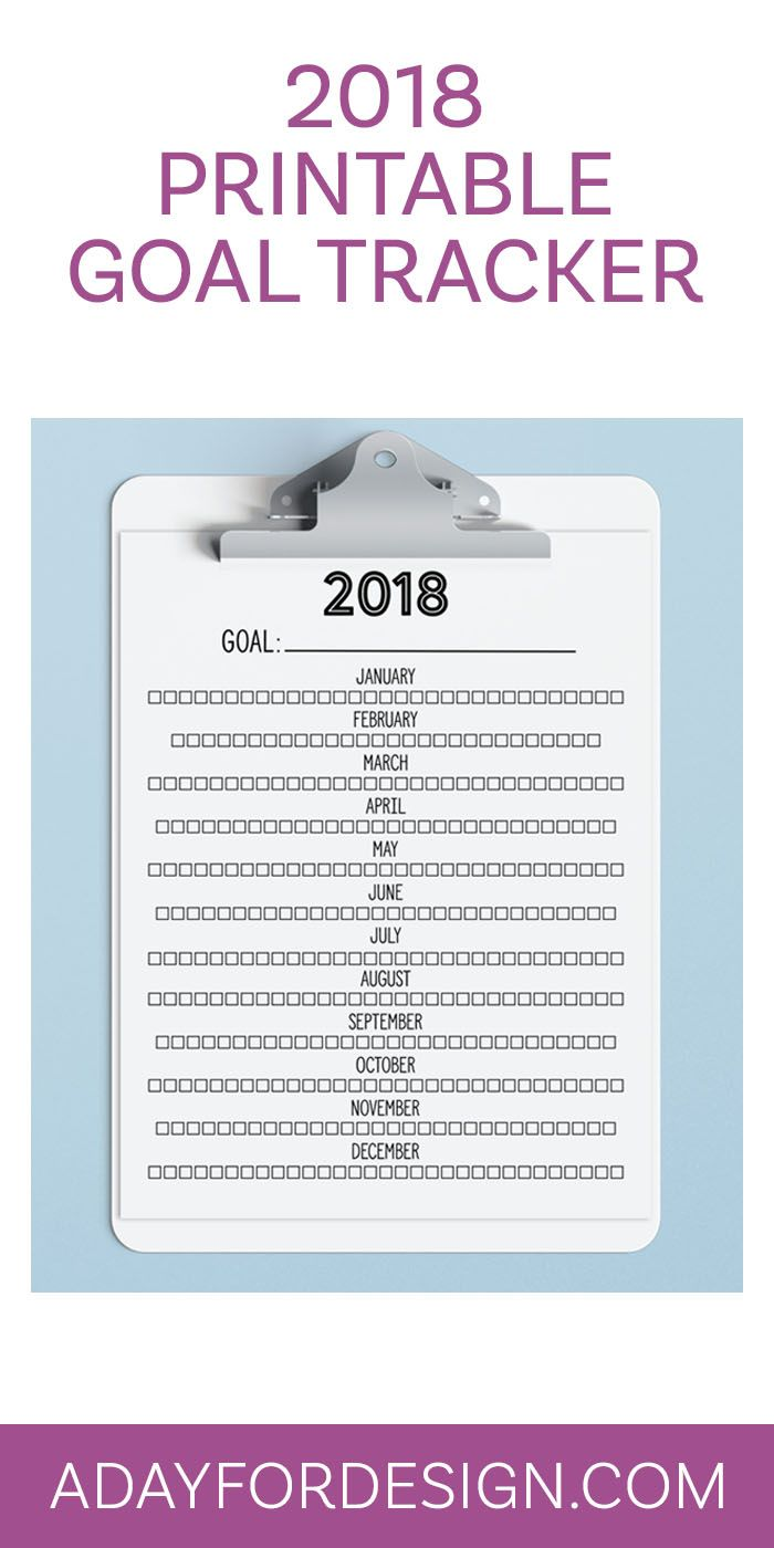 FREE 2018 Printable Goal Tracker | Ready to tackle your New Year's Resolutions? Keep track of your goals in the new year with this FREE 2018 Printable Goal Tracker!
