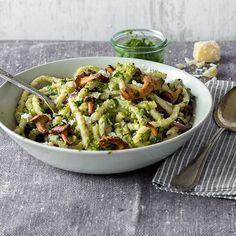 Pasta mit Pfifferlingen und Erbsenpesto – #Erbsenpesto #Mit #Pasta #Pfifferlingen #und