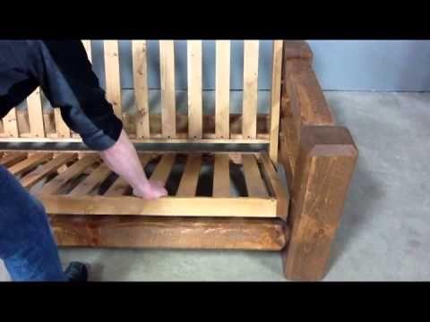 Viking Log Furniture: Barnwood Futon Assembly - YouTube