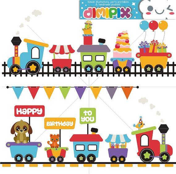 Choo Choo Train Birthday Train Clip Art Set Kit