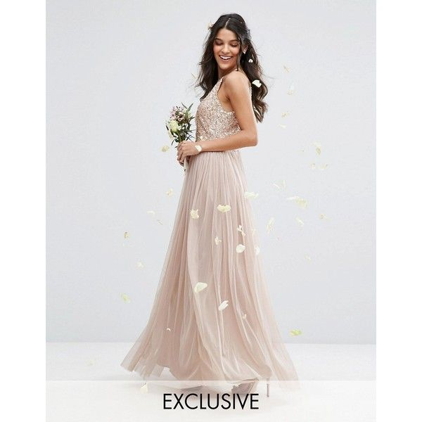 Maya High Neck Maxi Tulle Dress With Tonal Delicate Sequins ($120) ❤ liked on Polyvore featuring dresses, brown, petite, petite maxi dresses, sequin dresses, white tulle dress, petite cocktail dress and white sequin cocktail dress