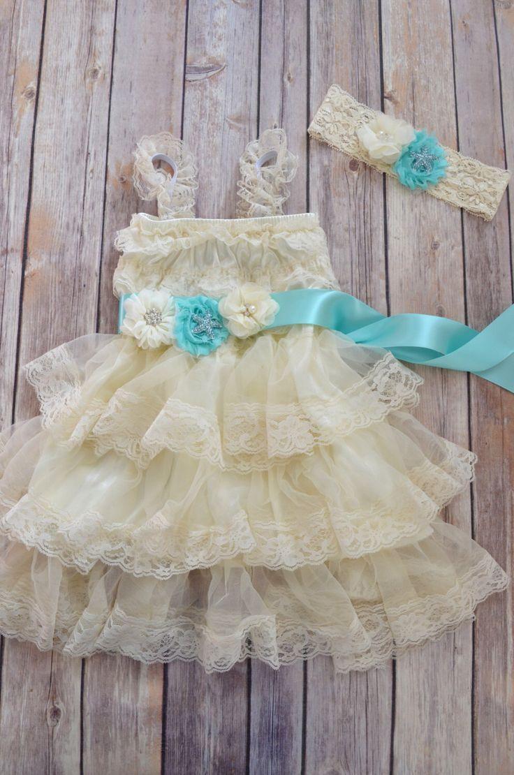 Ivory Lace Flower Girl Dress Headband set, Beach Wedding dress, Aqua Wedding, Nautical Wedding, Vintage Style Petti Dress Tutu by MaidenLaneBoutique on Etsy https://www.etsy.com/listing/223950020/ivory-lace-flower-girl-dress-headband