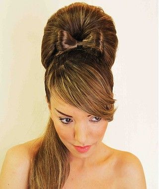 long brown straight coloured multi-tonal ponytail updo sculptured wedding Womens hairstyles for women