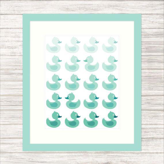 Baby Ducks Nursery Print in Graduated Teal  Wall by paper4download