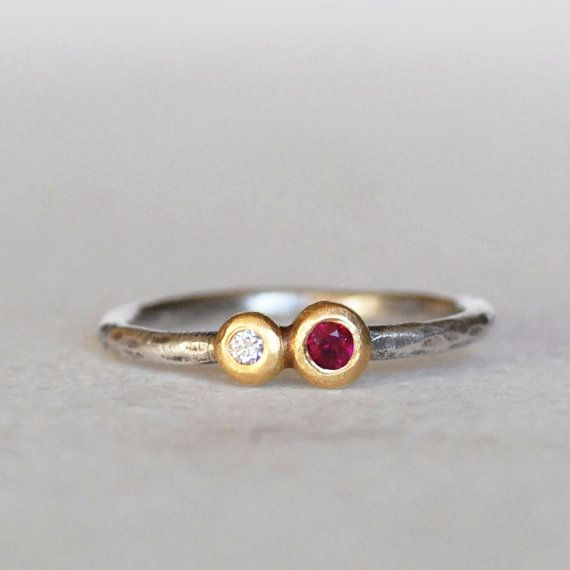 Ruby Diamond Pebble Ring - 18k Gold Diamond and Ruby Multi Gemstone Stacking Ring - Eco-Friendly Recycled