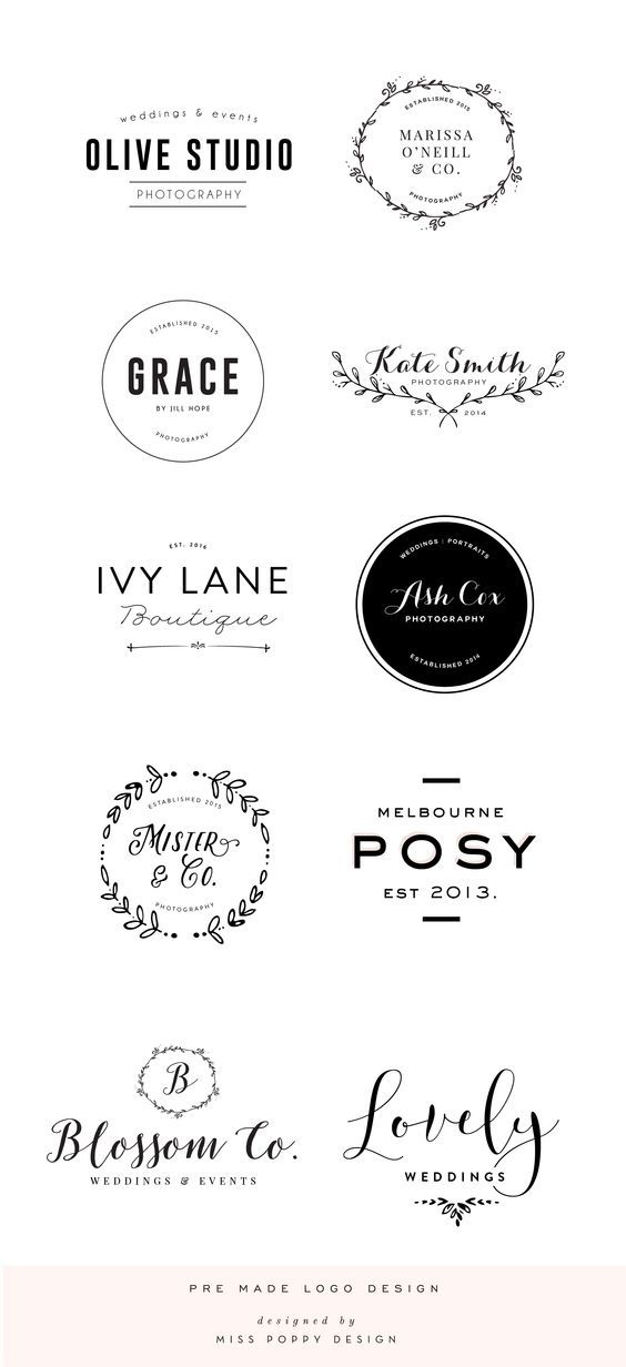 Pre Made Logo Design: Boutique: Phtographer: Small Business: Florist: Wedding: Laurel: Calligraphy // by Miss Poppy Design www.misspoppydesignshop.com: