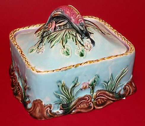 Antique English Majolica | English Majolica Sardine Box with Lid by Thomas Forester
