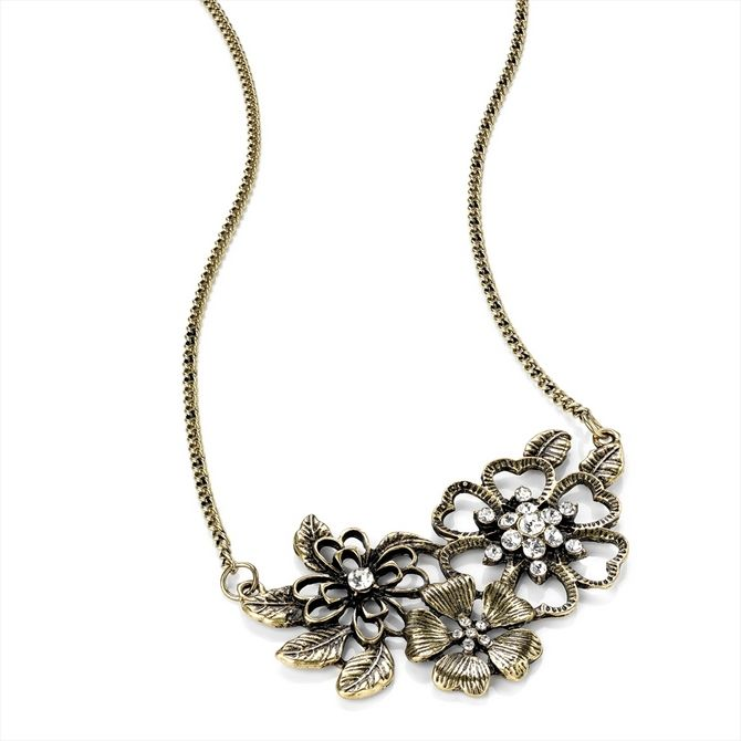 Burn Gold Effect Crystal Flower Fashion Necklace -  Just in £12.99