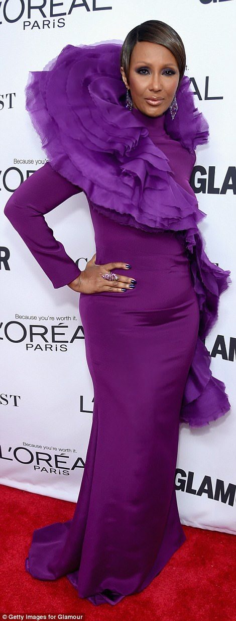 They are no shrinking violets! Iman stole the show in a flashy purple frock, while Samantha Bee dazzled in a dark magenta dress