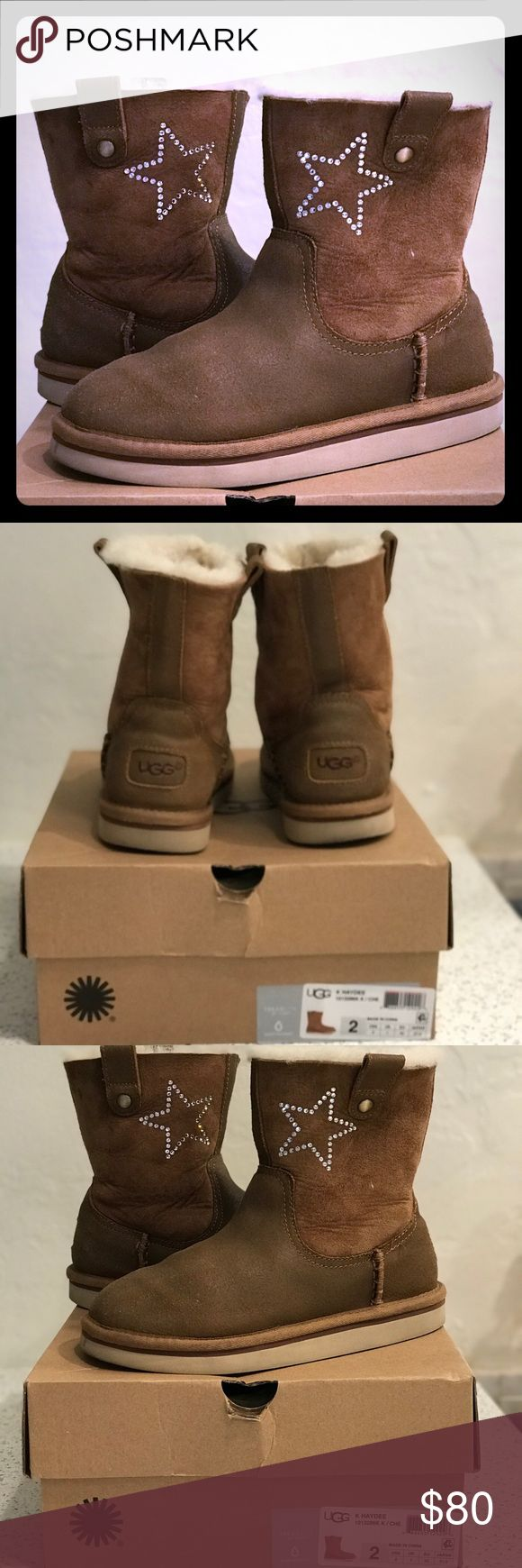 UGG Kids Haydee Swarovski Crystal Star Boots Sz 2 UGG Authentic Kids Haydee Custom w/ Swarovski  Crystal Star Suede Boots Size 2 We live Florida and going skiing once a year for one week, that is the entire duration these boots have been worn. Got them custom designed at the UGG store with a Swarovski Crystal Star. Excellent condition. Sprayed to protect from water and stain. I have the original box UGG Shoes Rain & Snow Boots