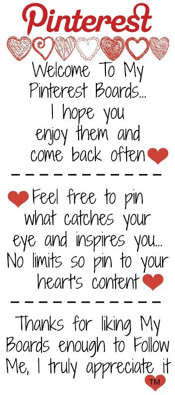 Welcome To My Pinterest Boards... I hope you enjoy them! Feel free to pin what catches your eye and inspires you ♥